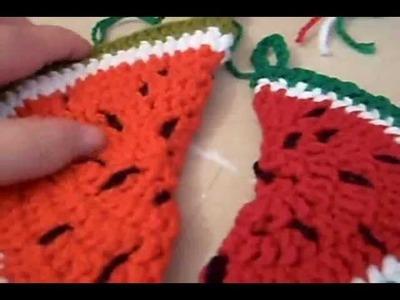 Como tejer una agarradera con forma de sandia 2 de 2.