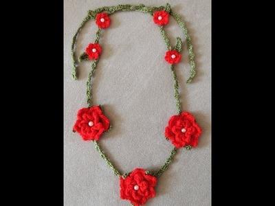 Crochet : Collar de Flores.  Parte 2 de 2