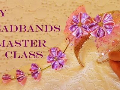 DIY Kanzashi diademas con flores - DIY Kanzashi flowers in satin ribbons headbands