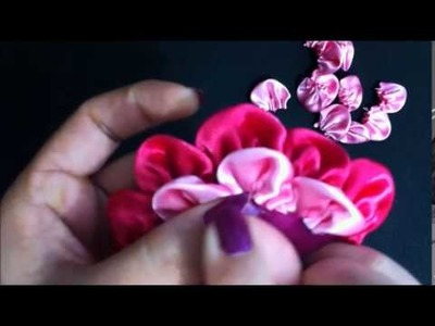 Flor petalo redondo tipo Kanzashi