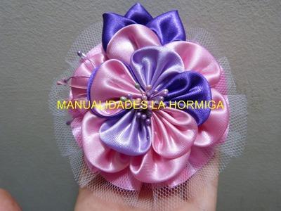 Flores kanzashi en tela o  cinta de raso ancha  para el cabello   paso a paso video  206