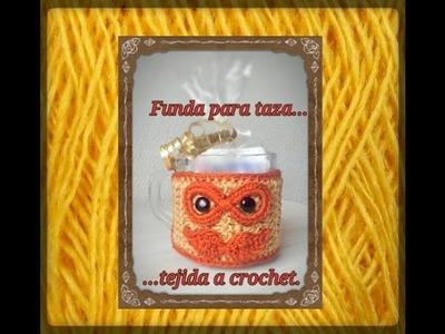 Funda para taza tejida.coffe cozy a crochet.