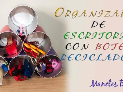 Organizador de escritorio con botes reciclados | Tutorial DIY