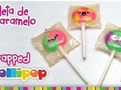 Wrapped Lollipop Polymer clay tutorial.  Paleta de Caramelo de arcilla polimérica