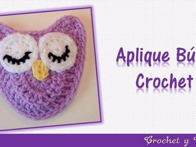 Aplique de búho crochet (ganchillo)