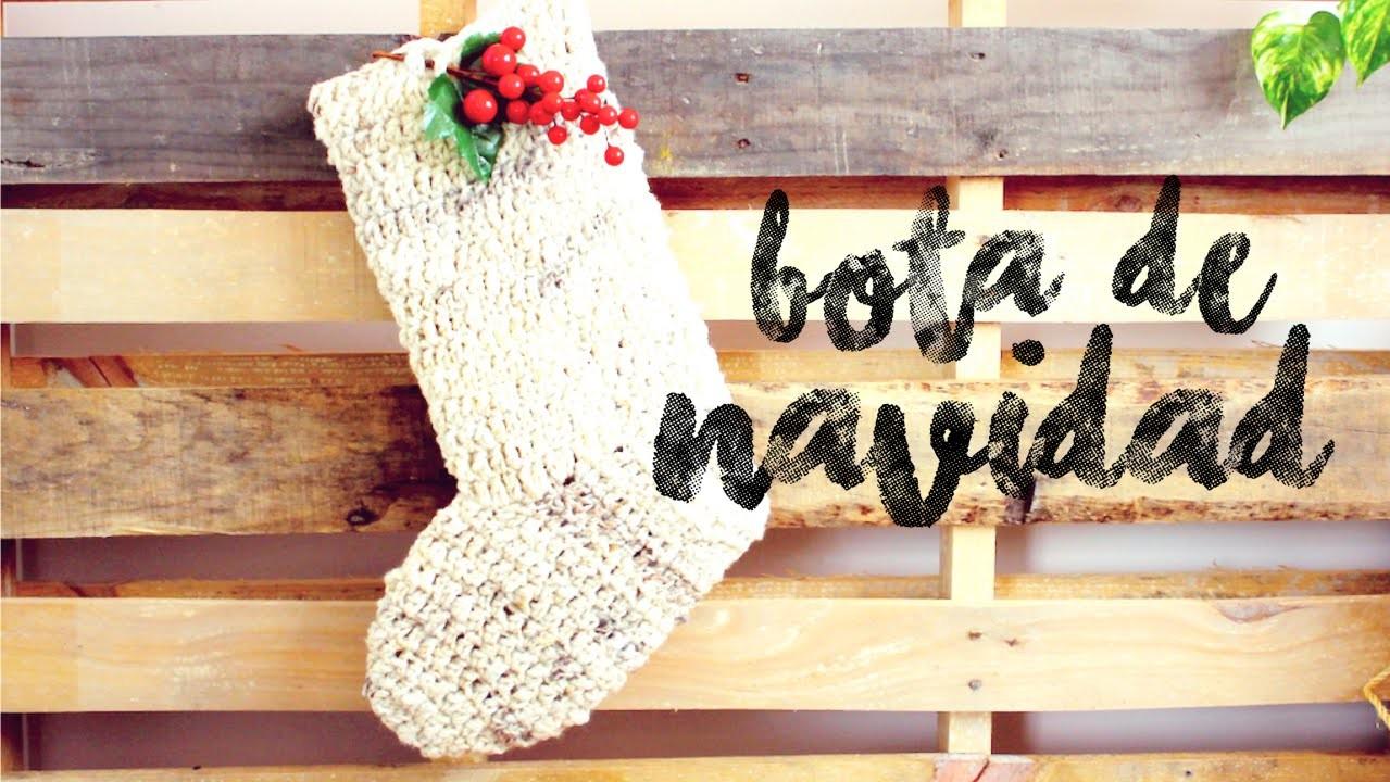 Bota de Navidad a Crochet ··· How to crochet a Christmas Stocking