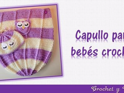 Capullo - cocoon con gorro búho dormido para bebés tejido a crochet (ganchillo)