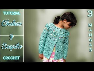 Chaleco y saquito a crochet para niña (3 de 3) - Las MANGAS