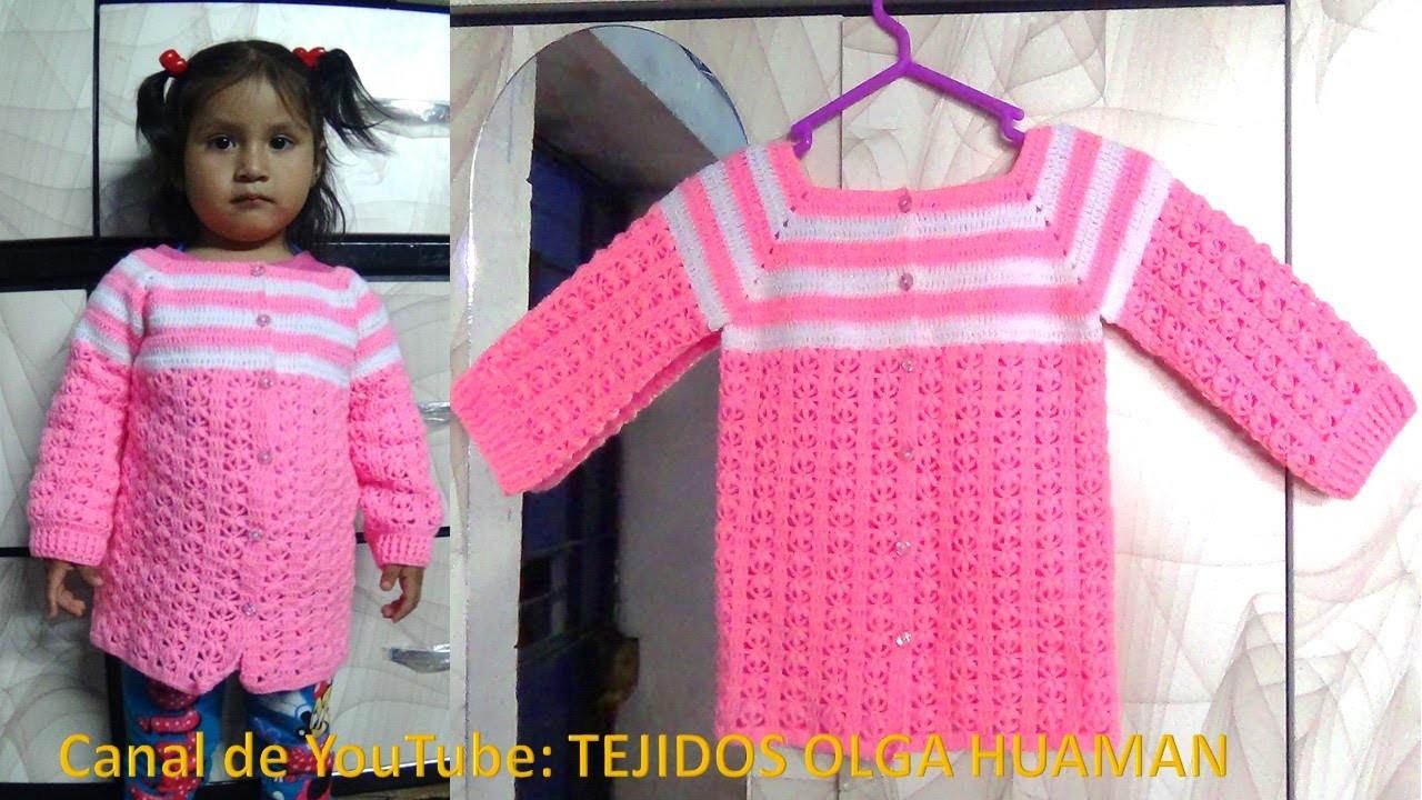Chompa tejida a crochet para niña de 1 a 3 años paso a paso