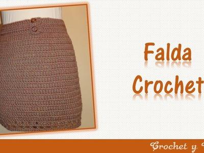 Falda con botones tejida a crochet (ganchillo)
