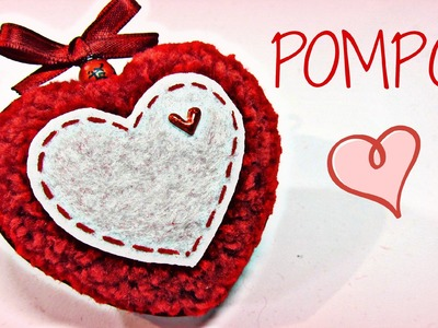 Pompón Corazón. Heart pompom. (San Valentín)