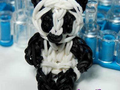 Oso panda con gomitas.Panda rainbow loom
