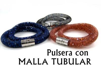 Pulsera de Malla Tubular con Swarovski Elements