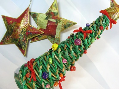 Tutorial: Tree made with newspaper. Árbol hecho con periódicos.