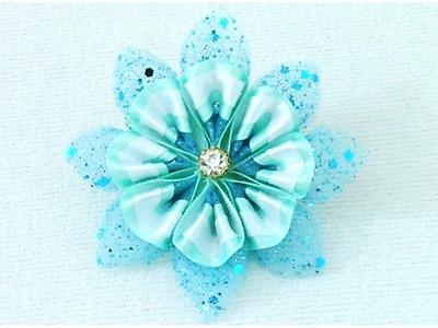 DIY Kanzashi Flores frozen en cintas - DIY Kanzashi flower frozen in ribbons