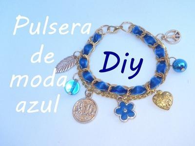 Diy Pulsera de moda azul