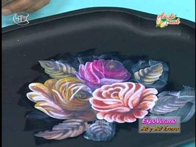 Manualidades Van Gogh - Bandeja reciclada y decorada con decoupage.wmv