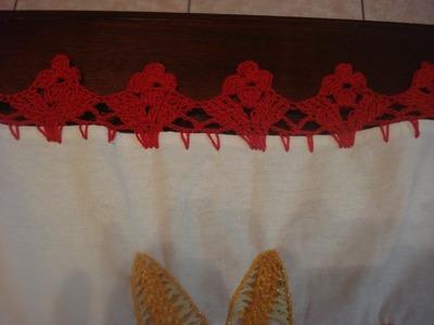 Orilla  Tejida Roja # 17 Servilletas
