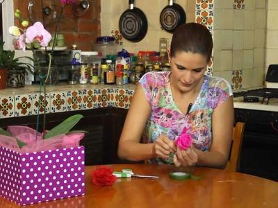 Boligrafo decorado con flor de seda