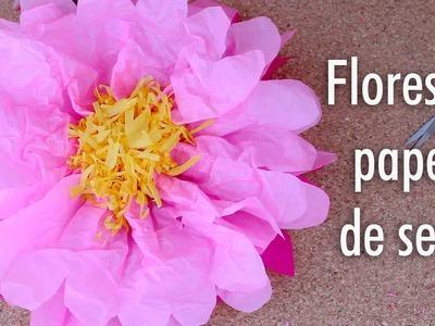 Como hacer Flores de papel de seda. Facil