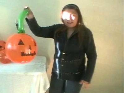 Curso decoracion con globos halloween  colgantes de calabazas