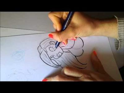 Dibujando a Sasi (tinta y rotuladores Copic)Parte 1