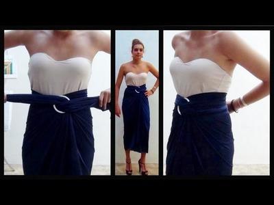 Falda drapeada elegante sin coser  Elegant skirt without sewing
