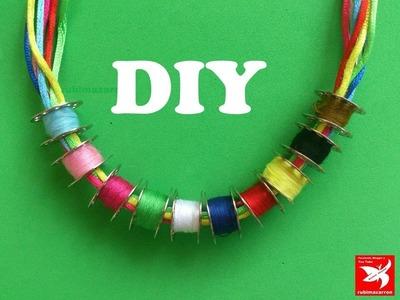 Necklace .Collar con canillas de maquina de coser