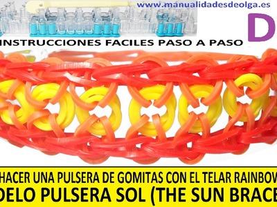 COMO HACER PULSERA DE GOMITAS SOL (SUN BRACELET) EN TELAR RAINBOW LOOM. VIDEO TUTORIAL