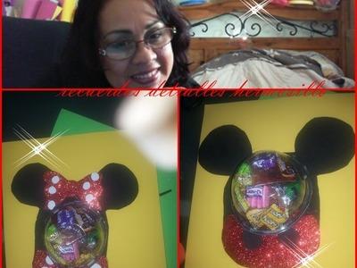 DIY  como hacer un dulcero de  Mickey y minnie Mouse