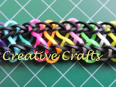 Tutorial pulsera de gomitas simbolo del infinito. Rainbow Loom bracelet symbol infinity.