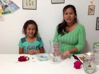 Vero Hoy - Centro de mesa con flores sumergidas y vela flotante