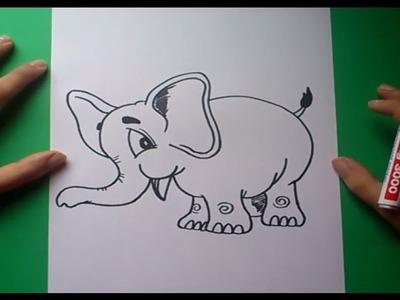 Como dibujar un elefante paso a paso | How to draw an elephant