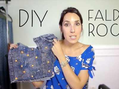 DIY Falda Vaquera con rotos y tachuelas | DIY Ripped Jeans with Studs
