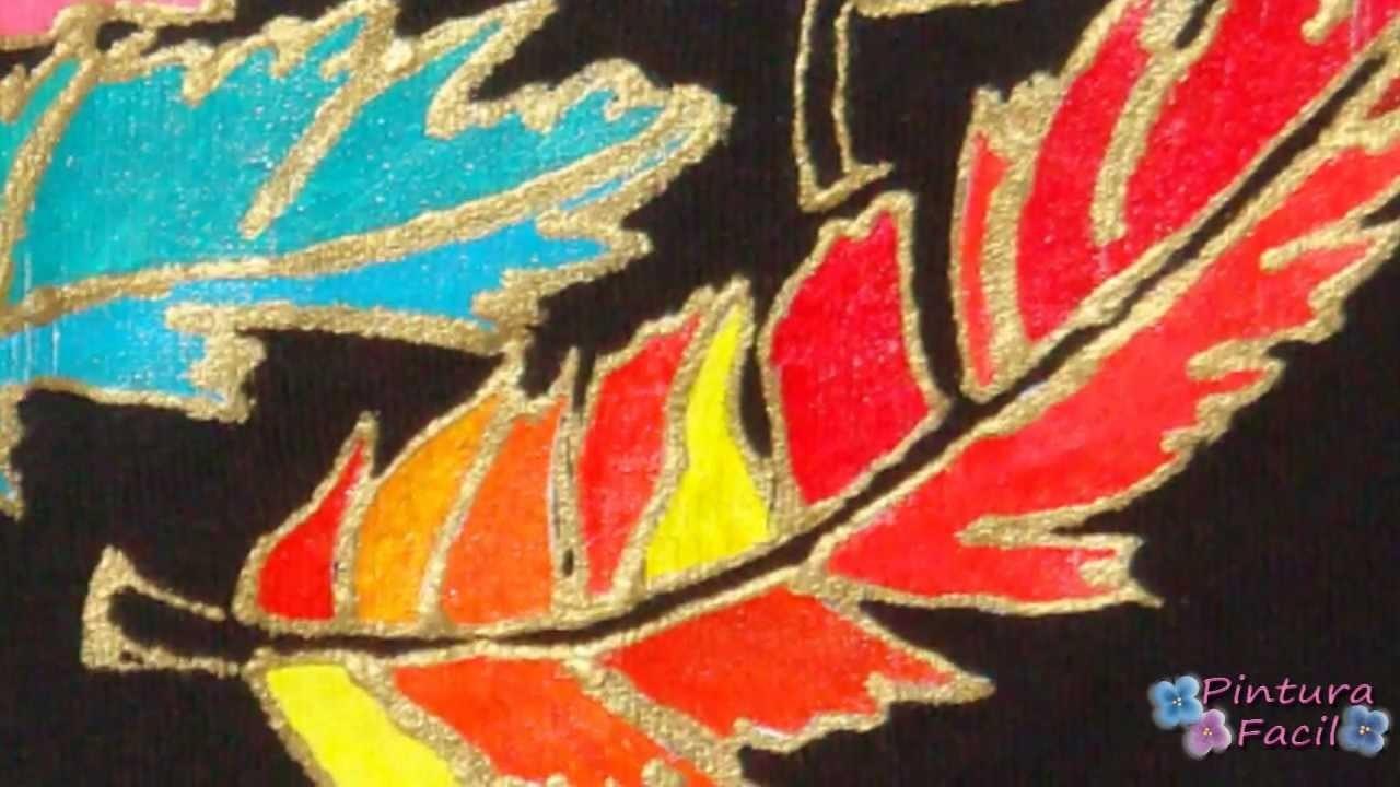 Pintura En Tela Plumas Y Plantillas Cloth Paint Pintar Camisetas