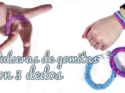 Pulseras de gomitas con 3 dedos - Rainbow loom with 3 fingers (Manualidades Fáciles)