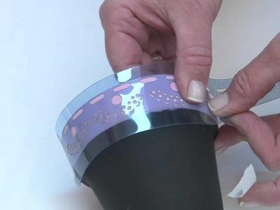 Como aplicar stencil y pintura para pizarron sobre maceta? Eq Arte