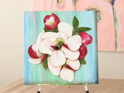 Como pintar flores y abejas - Pintura Acrilica - Uso de Pinceles - Mabel Blanco
