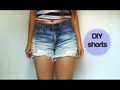 DIY- Cómo convertir jeans en shorts degradados de verano.con rotos-High waisted summer shorts