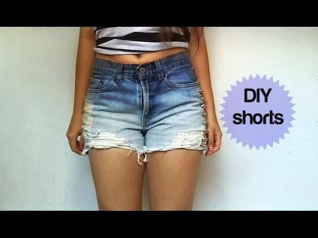 DIY- Cómo convertir jeans en shorts degradados de verano.con rotos-High waisted summer shorts