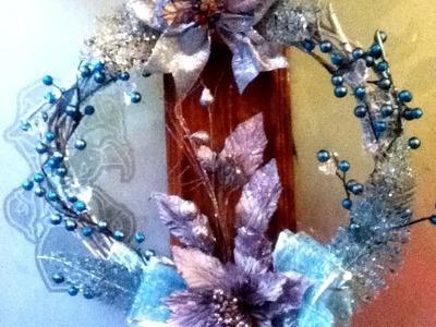 DIY corona navideña ramas secas Decoracion elegante listón Christmas wreath