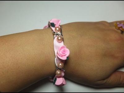 DIY. Pulsera de raso con rosas.