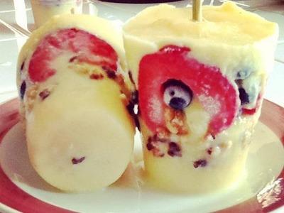 Helado de Pudding con Fruta-Pudding Popsicle
