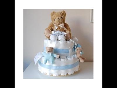 Manualidades como hacer tarta torta pastel  de pañales paso a paso facil