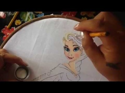 Pintura en tela Elsa frozen # 2 con cony