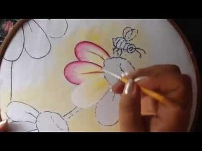 Pintura en tela florecitas # 1 con cony