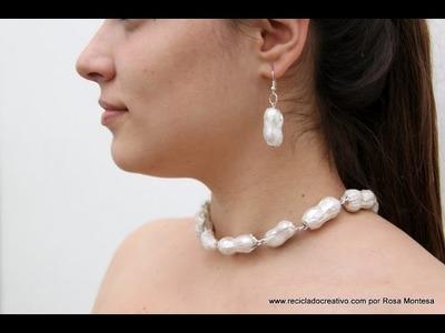 Collar con cáscaras de cacahuete: Perlas Asimétricas Barrocas Valencianas #ecofallera
