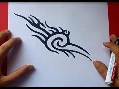 Como dibujar un tribal paso a paso 9 | How to draw one tribal 9