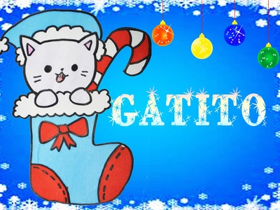 Dibuja un gatito navideño en una bota de dulces kawaii Aprender a Dibujar Dibujin Dibujado