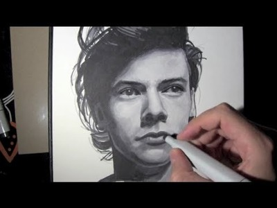 Dibujo de Harry Styles de ONE DIRECTION con rotuladores